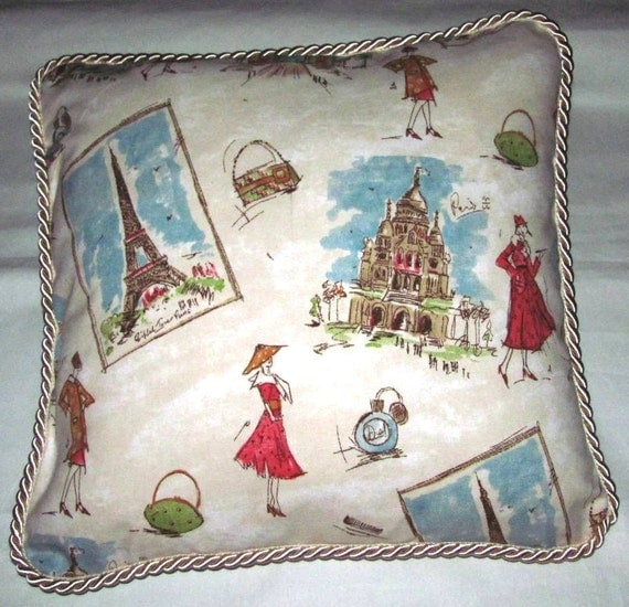 Chic French Country Shabby Romantic Cottage Pillow Paris Parisian Blue Ivory Eiffel Tower