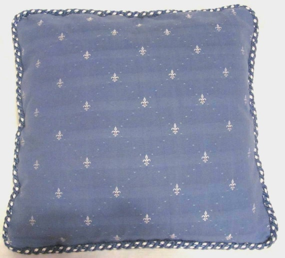 Private sale for Valorie:     Country French Fleur De Lis Pillow Cottage Blue White Provence Provencal Toile Check