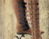 HAND MADE Brown Leather Aristocrat Buckle Steampunk Boots
