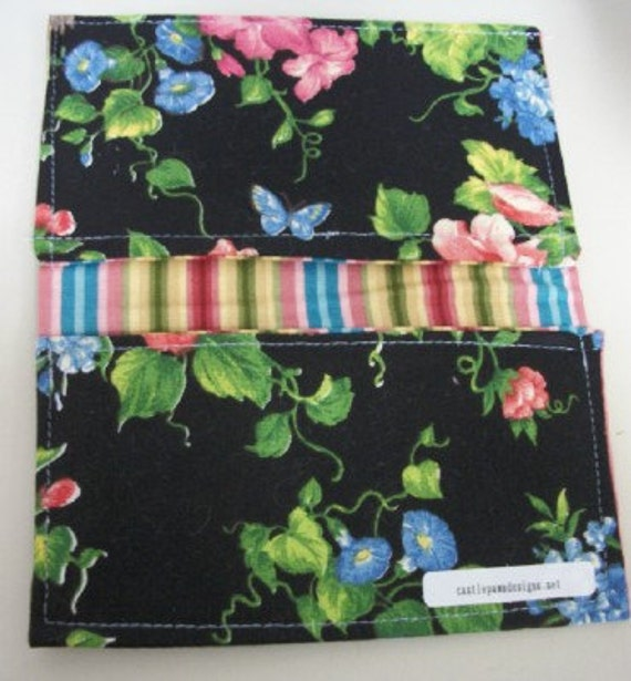 Ladies Floral Honeysuckle Butterfly Fabric Print Checkbook Cover Coupon Holder Clutch Purse Billfold Ready Made