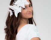 Whimsy Butterflies white bridal fascinator