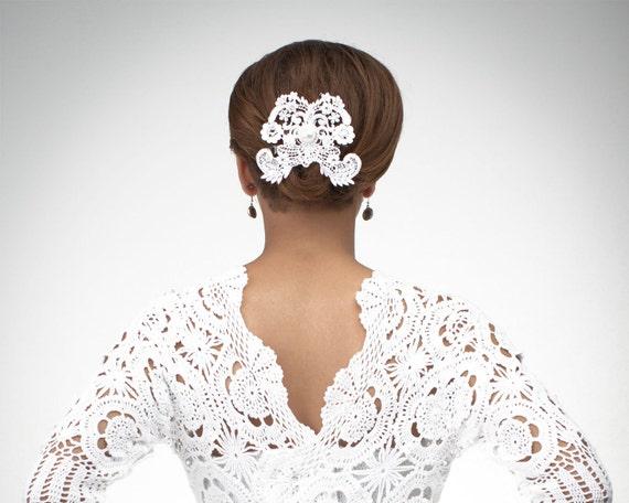 Flirtatious Butterfly white lace bridal fascinator with Swarovski rhinestone crystals