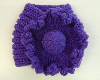 Ladies Flower Neck Warmer in Violet, Grey, Purple, Deep Teal Green & Charcoal