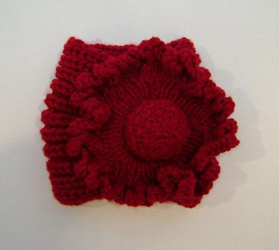 Ladies Flower Neck Warmer in Red, Purple, Deep Teal Green, Grey, Violet & Charcoal