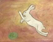 Mischief - White Rabbit Giclee Print by Cathy Kiffney