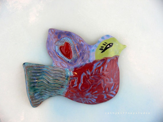 Sweet Colorful Wall Bird- clay art hand made wall hanging bird