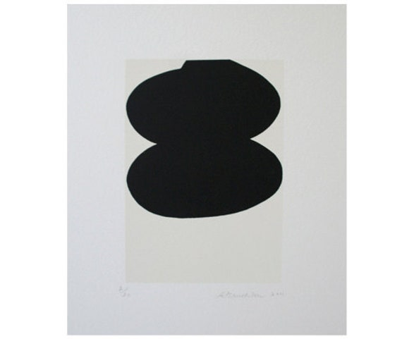 Simple abstract original sreenprint in black and cream on Fabriano Rosapina paper