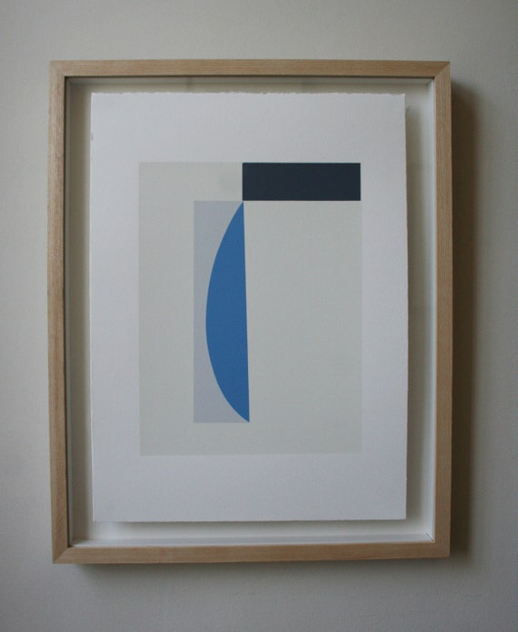 Study with blue curve, geometric original handmade screenprint in blues, greys and cream