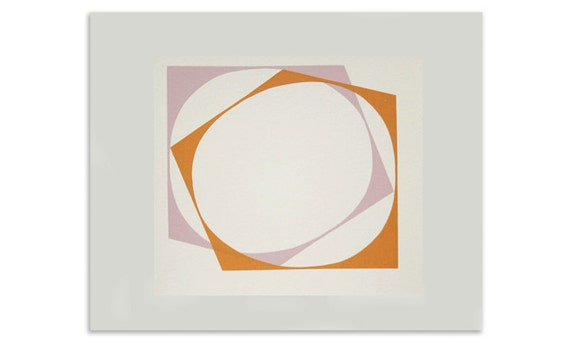 Circle - abstract original pink and orange handmade screenprint using block colours.