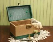 SALE...Vintage Traincase / Green Faux Alligator Trim