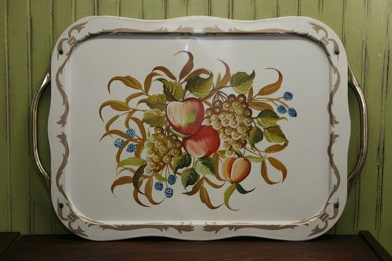 Large Metal Tole Tray / Handled Serving Tray / Cottage Chic