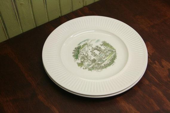 SALE....Johnson Bros Ironstone Plates - Arcadia, Pair, Vintage