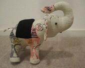 Stuffed Elephant Toy Tan Vintage Barkcloth Collectable