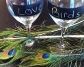 Chalk Board Wine Glasses - Love Bird