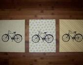 FutureLint hand screened art - yellow three bicycles
