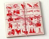 1951 Travel Bingo Paper Cards - Set of 15