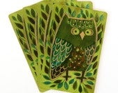 Vintage Owl Playing Cards - Green, Set of 12