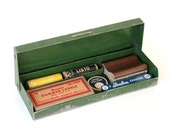 Vintage Green Box with Instant Collection of Vintage Office Supplies