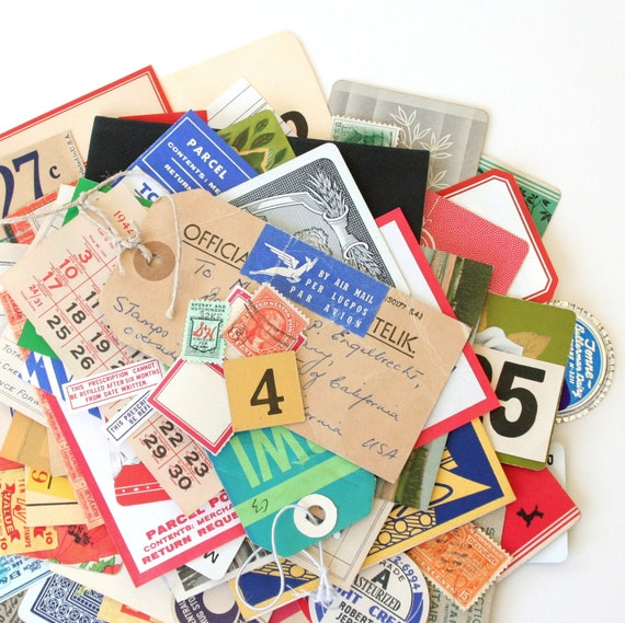Vintage Paper Collection No. 11 (Stamps, Labels, Tags, Tickets & More) - Over 100 Pieces