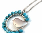Sleeping Beauty Turquoise white gold plated Bird Necklace