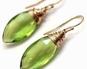 Spring Green  Peridot Green Quartz Marquis Drops