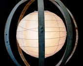 "GLOBE - ""Classic"" - Wine Barrel Ring Lantern Chandelier - 100% RECYCLED"