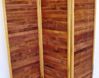 "Wine Barrel Room Divider / Screens made from reclaimed wine tank wood - folding - SCREEN - ""Schermo"" -"