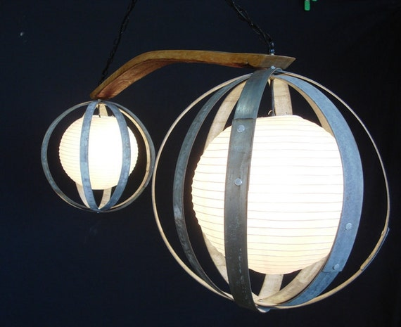 "GLOBE -  ""Zenith"" - Wine Barrel Ring Lantern Chandelier - 100% RECYCLED"