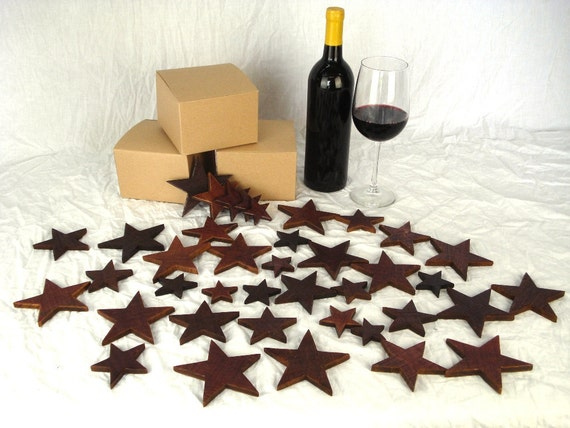 Wood Stars made from Napa Valley Wine Barrels - Box of Stars - 100% natural and recycled