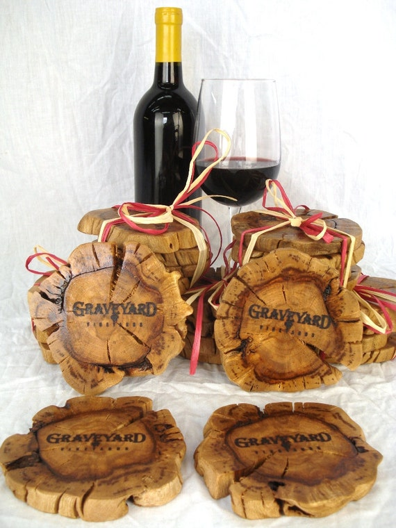 SALE - Graveyard Winery - Old Vine Grapevine Coasters - set of 4 - 100% Organic and Natural - Shipping Included