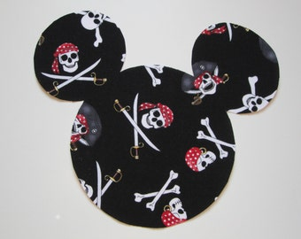 Pirate Mickey Head Iron On Applique