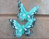 2 Feather Butterflies - Turquoise