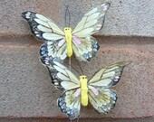 2 Feather Butterflies - Yellow