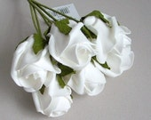 Bunch of 6 Foam Rose Buds - White