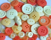 Lot of 100 Buttons - Yellows and Oranges