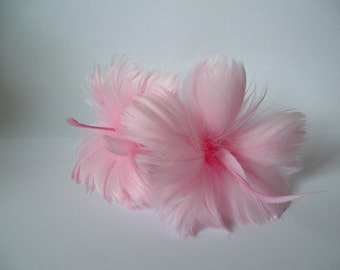 2 Pink Feather Flowers