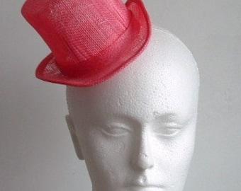 Sinamay Mini Top Hat  - Coral
