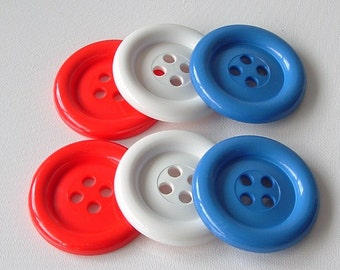 BLACK FRIDAY SALE - Extra Large Buttons - Red White and Blue