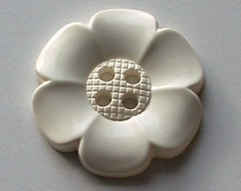 Extra Large Flower Button - White