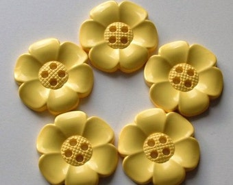 Lot of 5 Extra Large Flower Buttons - Yellow