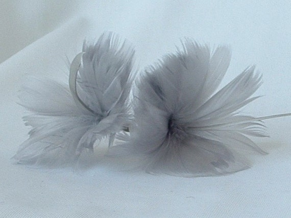 2 Silver (Grey) Feather Flowers