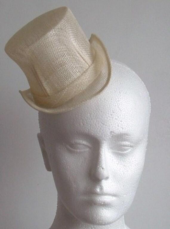 Sinamay Mini Top Hat  - Ivory