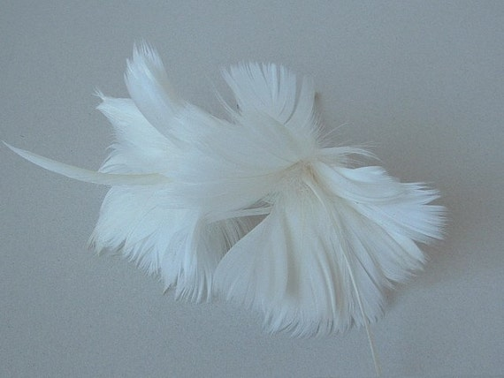 2 Feather Flowers in Ivory