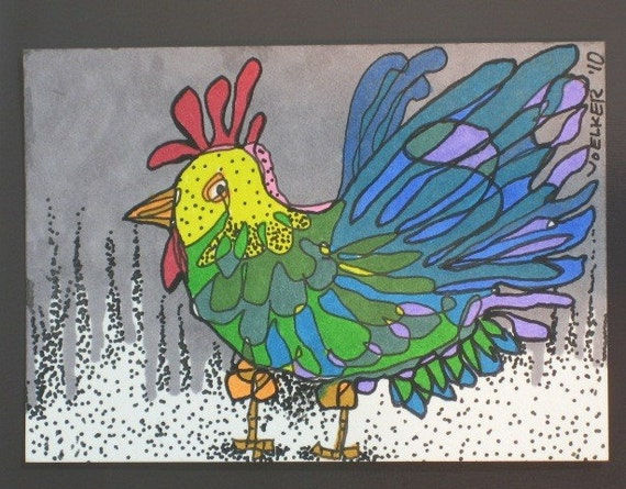 GALLO GALLINA II, aceo card, by Karla Voelker