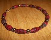 RESERVED Deep red paper bead bracelet