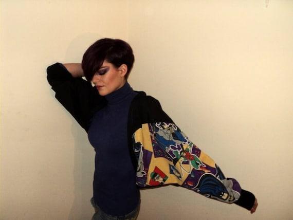 Vintage 90's Batman Fabric Slouch Batwing Jacket / Shrug / Bolero Joker Robin Blue Lining