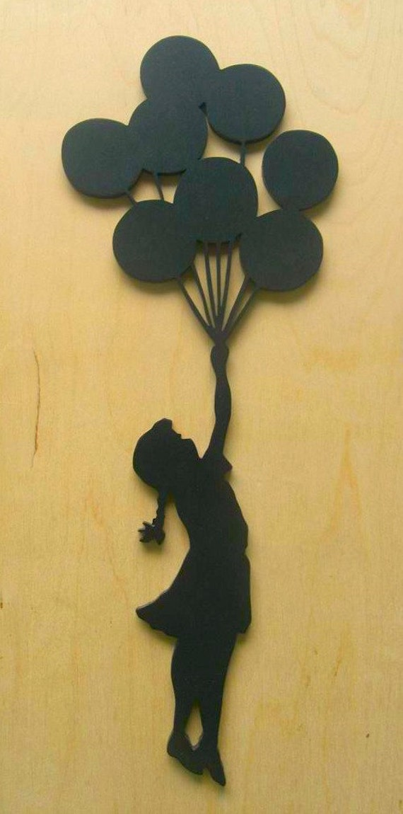 Banksy Girl With Balloons Wood Silhouette Wall Art Cut Out