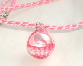 Pink Crystal Ball Necklace Set