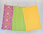 Burp Cloths, Set of Three in Purple, Lime, and Yellow