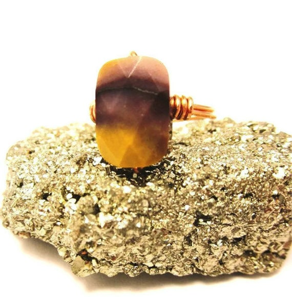 Australian Mookaite Faceted Stone Ring with Copper - Mustard, Mauve and Plum